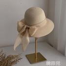 遮陽帽 夏天草帽女英倫草編涼帽防紫外線太陽帽大沿帽子大帽檐防曬遮陽帽 韓菲兒