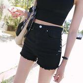 黑色牛仔短褲女夏新款韓版高腰學生寬鬆顯瘦彈力百搭毛邊熱褲     芊惠衣屋