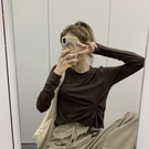 【Charm Beauty】內搭 長袖t恤 女春夏 2021年 新款 韓版 百搭 設計感 小眾 抽繩 上衣 打底衫