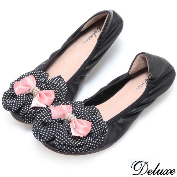 【Deluxe】全真皮圓點絲綢雙層蝴蝶結平底包鞋(黑)