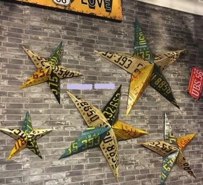 [協貿國際]   46cm長五角星壁飾咖啡廳牆面裝飾品壁掛  (1入)