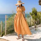 VK精品服飾 韓系顯瘦一字領兩穿波點長版短袖洋裝