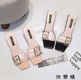 一字型粗跟涼拖鞋水晶透明女鞋子