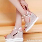 波西米亞涼鞋女學生夏2021新款百搭舒適坡跟女鞋厚底松糕鞋平底鞋 美眉新品