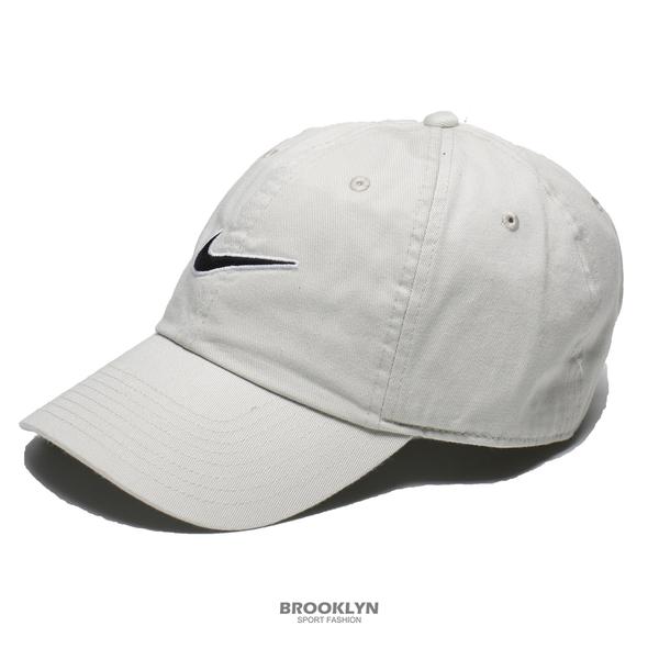 NIKE 運動帽 老帽 H86 SWOOSH 米灰色 燕麥 大勾勾 電繡 可調式 棒球帽 (布魯克林) 943091-072