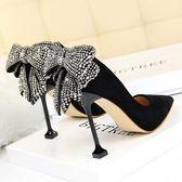 高跟鞋 女鞋蝴蝶結水鉆新娘婚鞋尖頭黑色高跟鞋細跟