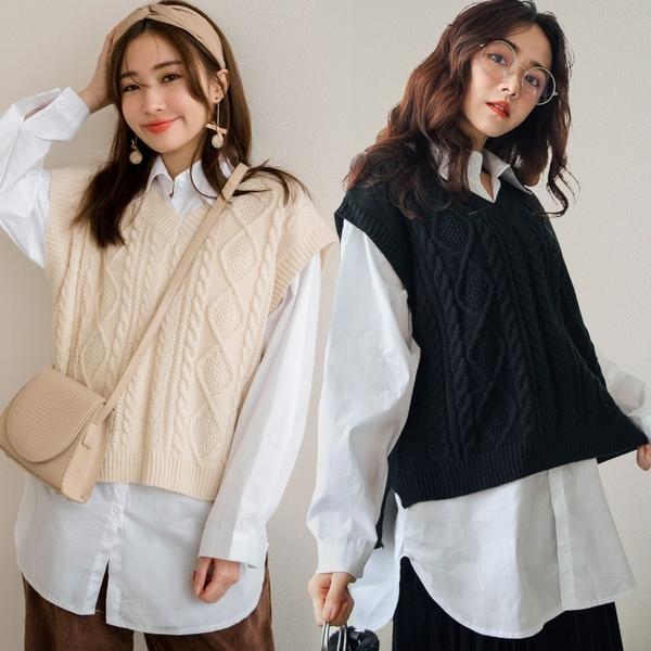 現貨-MIUSTAR 兩件式!圓弧下襬白襯衫+麻花短版針織背心(共3色)【NH3481】