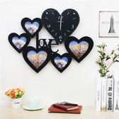 心形LOVE相框掛鐘餐廳鐘表創意靜音掛表簡約時鐘客廳婚房臥室裝飾WY 尾牙 限時鉅惠