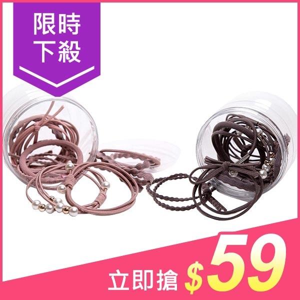 12件組小清新髮圈組(罐裝/盒裝) 顏色款式隨機【小三美日】髮飾 原價$75