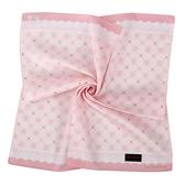 Clathas 經典山茶花菱格紋純綿領巾(粉紅色)989256