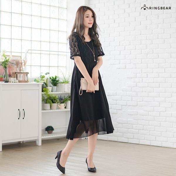 連身裙--優雅氣質顯瘦修身感微V領雪紡蕾絲拼接短袖長洋裝(黑L-3L)-D526眼圈熊中大尺碼
