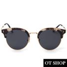 OT SHOP太陽眼鏡‧韓系明星款個性時尚鉚釘造型復古顯小臉偏光墨鏡‧亮黑/灰白框‧現貨兩色NN52