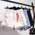 高腰牛仔短褲女春夏季新款寬松破洞大碼胖mm闊腿毛邊a字熱褲子潮