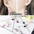 夾式耳環 現貨 韓國氣質甜美不對稱絨布球...