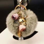 新款日韓風獺兔毛球花朵款汽車鑰匙扣女包包掛件創意禮品 晴天时尚馆