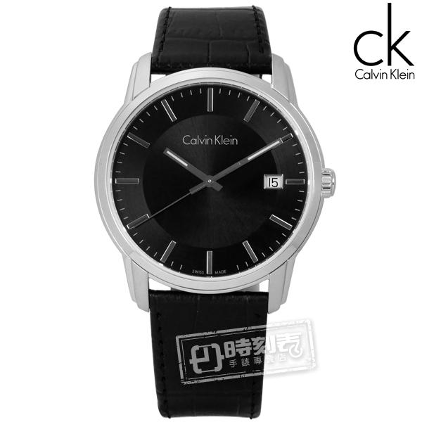 CK / K5S311C1 / 典藏品味日期皮革手錶 黑色 41mm ★加購鋼化玻璃膜 ★