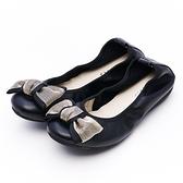 G.Ms. 金絲蝴蝶結牛皮彎折娃娃鞋-黑色