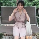 夏裝氣質百搭帶顯瘦時尚西裝領雪紡襯衫裙中長款洋裝女裝潮 交換禮物
