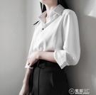 小個子緞面襯衫女ol面試職業裝啞光絲質修身氣質設計感小眾  聖誕節免運