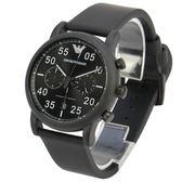 EMPORIO ARMANI飛行員三眼計時皮革腕錶42mm(AR11133)270310