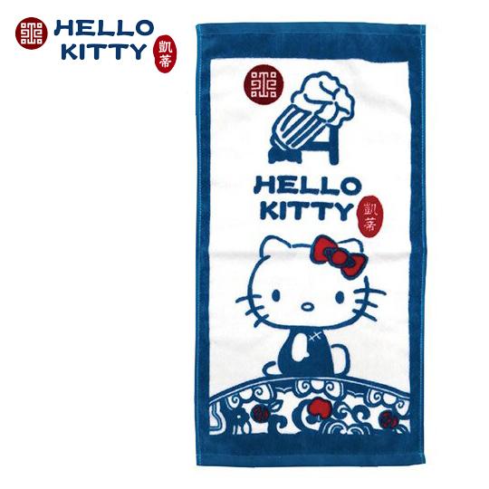 小禮堂 Hello Kitty x 故宮博物院 兒童毛巾 長毛巾 純棉 割絨 28x54cm (S 藍綠) 4713218-89604