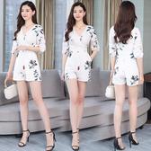 出清388 韓系收腰印花寬口時尚連身褲套裝短袖褲裝
