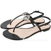 TORY BURCH Liana 鑽飾牛皮夾腳涼鞋(黑色) 1740322-01
