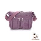 B.S.D.S冰山袋鼠 - 時光旅人 - 知性防水布多層皺褶斜背包 - 深芋紫【B5035-2U】