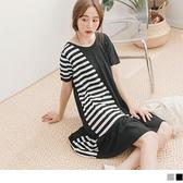 《DA7608-》流行感配色條紋拼接荷葉裙襬短袖洋裝 OB嚴選