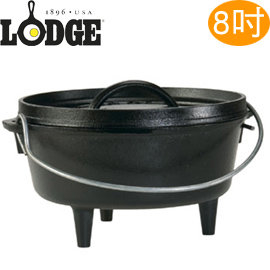 丹大戶外【LODGE】美國Logic 2QT Camp Dutch Oven 8吋有腳鑄鐵荷蘭鍋/可疊放/免養鍋 L8CO3 (非深型)
