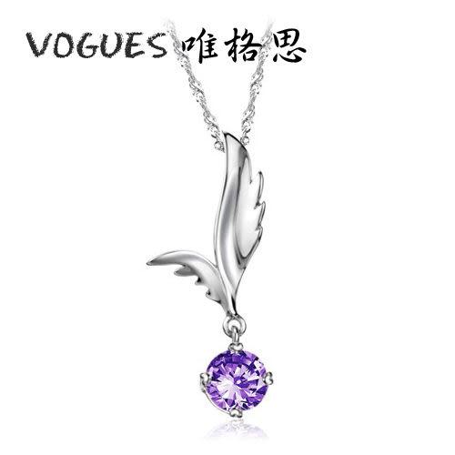 羽毛造型鑲鑽項鍊(3色)A095  情人節禮物【Vogues唯格思】