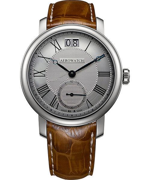 AEROWATCH Renaissance 大日期視窗腕錶-銀x咖啡色錶帶/43mm A39941AA06