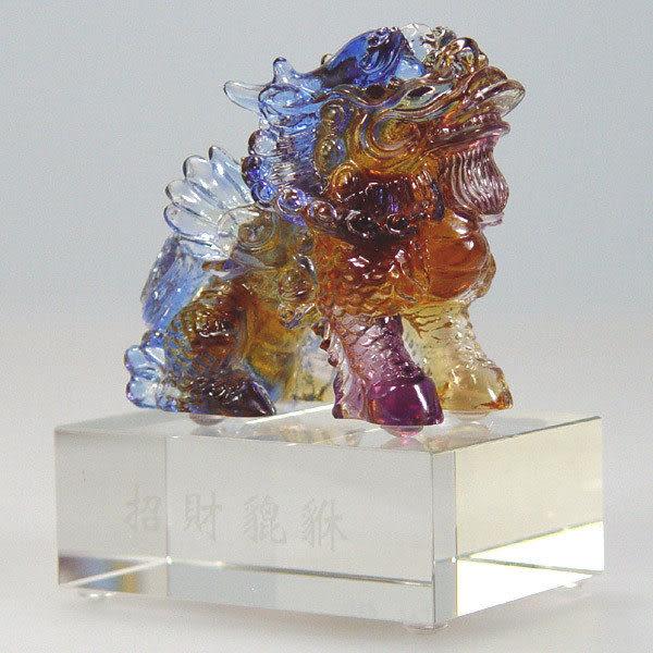 鹿港窯~居家開運水晶琉璃~招財貔貅含座 ◆購物清單一件◆附精美包裝◆免運費送到家