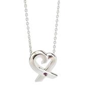 【奢華時尚】秒殺推薦!TIFFANY 鑲紅寶石925純銀Loving Heart心型墜飾項鍊(八五成新)#23732