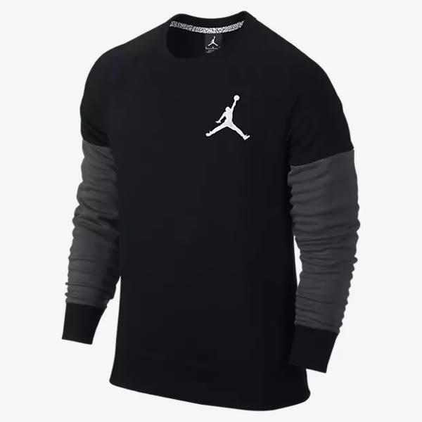 (特價) NIKE大學t 衛衣 長袖 696203-010 黑色拼接 Jordan Jumpman Graphic Brushed Crew 【代購】
