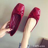韓版女鞋漆皮蝴蝶結方頭平底鞋子休閒百搭淺口單鞋女紅色 小確幸生活館