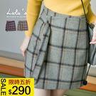LULUS特價-Y格紋毛呢片式綁帶短裙S-XL-2色  現+預【04070227】