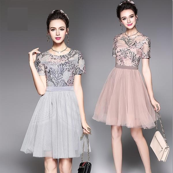 中大尺碼洋裝 時尚網紗繡花收腰連身裙 2色 L-5XL #bl5396 ❤卡樂store❤