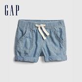 Gap嬰兒 時尚純棉卷邊牛仔短褲 795667-藍色