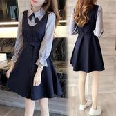 秋裝學生裙假兩件襯衫裙A字連衣裙