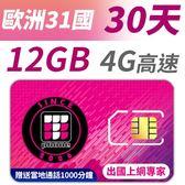 【TPHONE上網專家】歐洲 31國 30天 12GB高速上網 支援4G高速 贈送當地通話1000分鐘