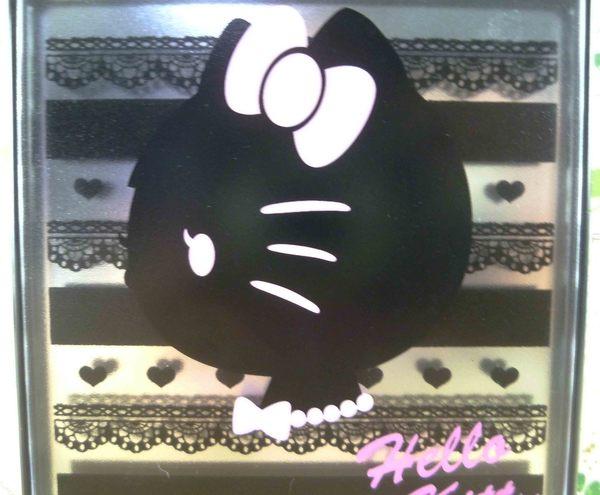 【震撼精品百貨】Hello Kitty 凱蒂貓-摺疊鏡-黑蕾絲
