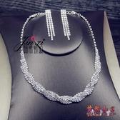 新款簡約百搭新娘婚紗禮服項鍊耳環二件套裝韓式簡約水鉆結婚項鍊 DN20824【花貓女王】