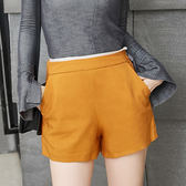 ★韓美姬★中大尺碼~側拉鍊高腰短褲(XL/2XL)
