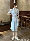 襯衫裙 設計感不規則短袖連身裙女夏季2021新款法式復古小眾甜美襯衫裙子 曼慕