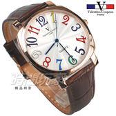 valentino coupeau范倫鐵諾 方圓數字時尚錶 玫瑰金電鍍 防水手錶 真皮 玫瑰金x咖啡 男錶 V61601玫咖大