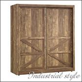 【水晶晶家具/傢俱首選】JX1314-1班克6x6.6呎英國工業風雙拉門衣櫃
