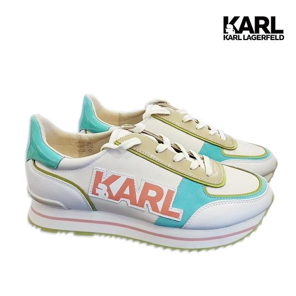 (67折出清)【KARL LAGERFELD】VELOCITA II KARL運動鞋-粉/綠 (原廠公司貨)