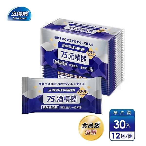 【立得清】75%酒精擦濕紙巾 清潔抗菌 擦拭無水痕-單片裝(30片x12包)