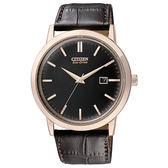 CITIZEN 星辰GENT'S 低調品味簡約時尚光動能腕錶/40mm黑X咖啡皮BM7193-07E